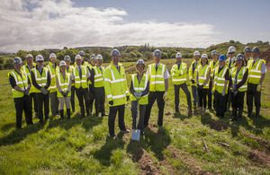 Representatives of CNC, NDA, Morgan Sindall and Deloitte's, together with community representatives at the ground breaking ceremony for the new facility