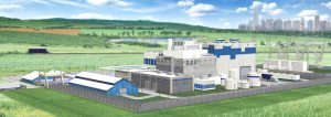 Artists impression of a Westinghouse SMR power station